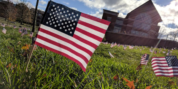 A United States flag staked in the lawn among many others near the Davis Center.