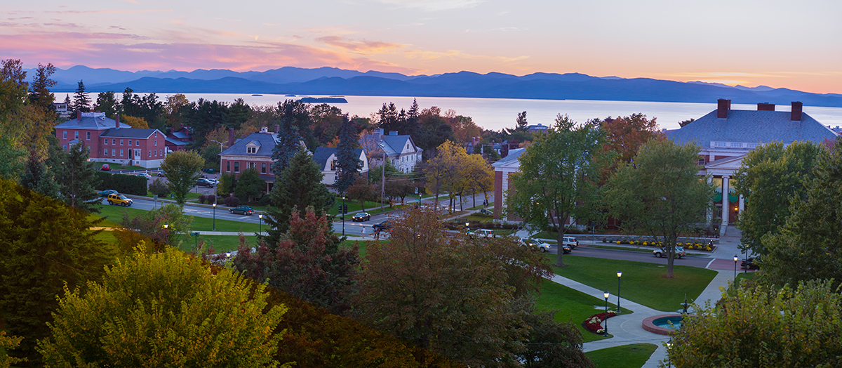 University of Vermont and Lake Champlain at sunset