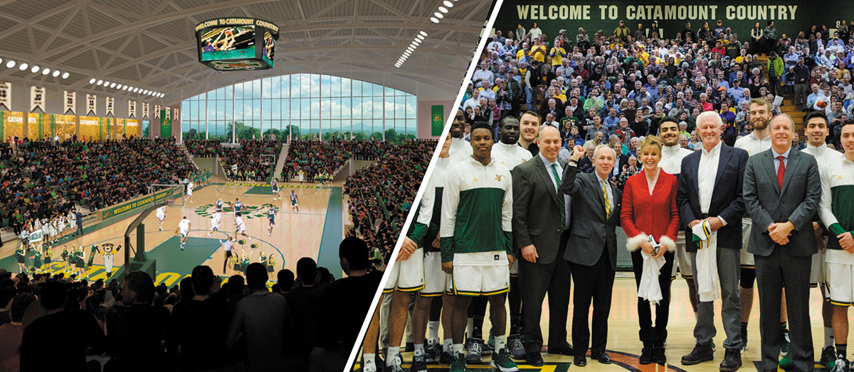 Composite photo showing rendering of new event center and donors, players and university officials in Patrick Gym