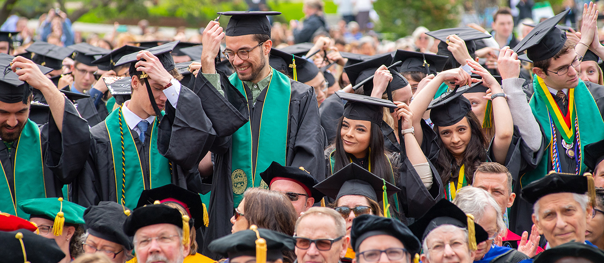 Graduates at the University of Vermont commencement