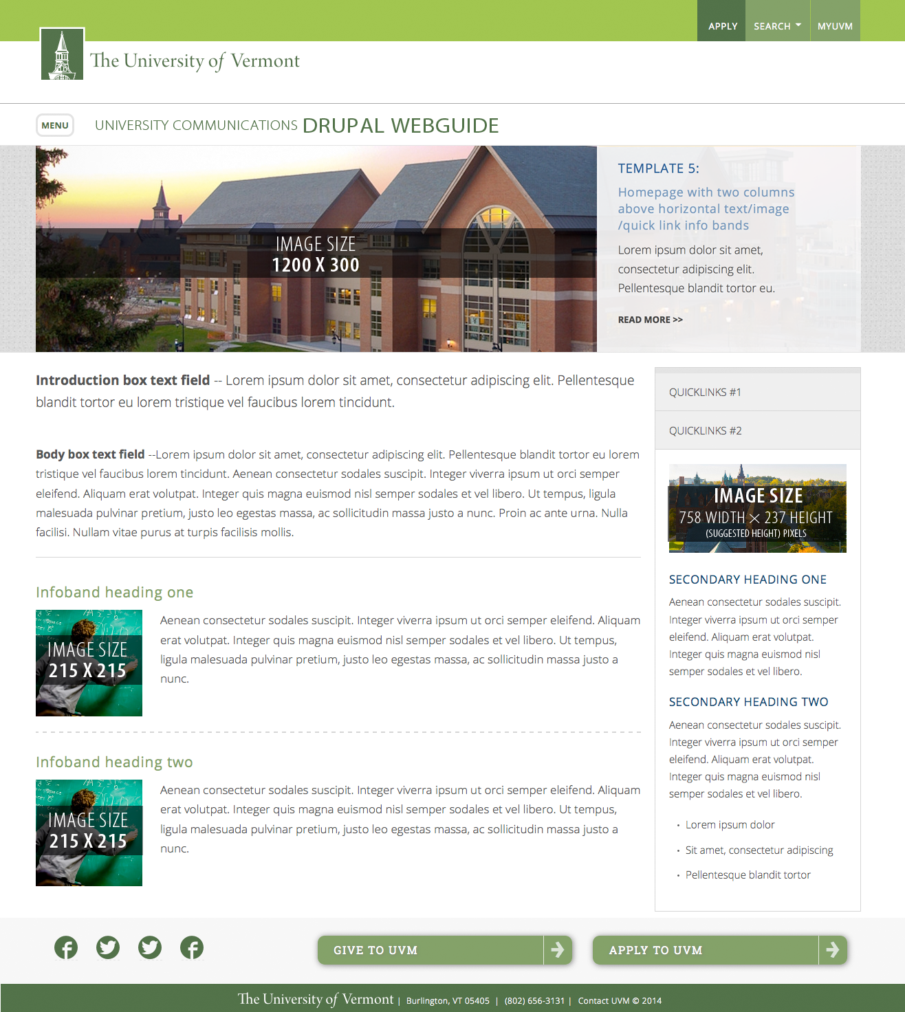 Plan for your drupal site uvm drupal web guide the university of template 5 homepage with two columns above horizontal textimagequick link info bands maxwellsz