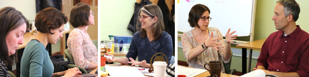 left image: two women look down at their laptops while another looks up during a workshop, center image: Director Susanmarie Harrington smiles and holds a slide presenter, right image: a seated woman holds at her hands during a discussion with a man