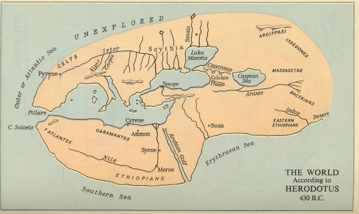 History of greece map of the world known to herodotus gumiabroncs Gallery