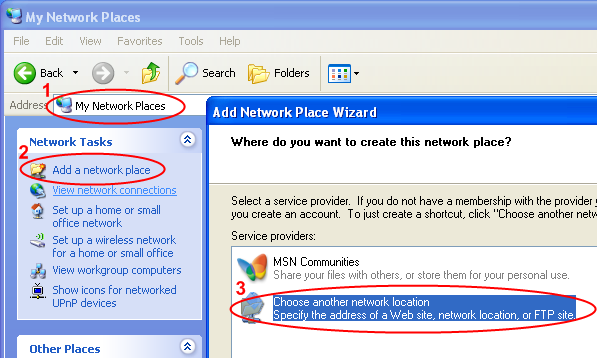 The Add Network Place wizard